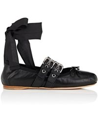 Miu Miu - Double-buckle Leather Ankle-tie Flats - Lyst