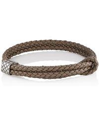 Bottega Veneta | Sterling Silver & Intrecciato Leather Bracelet | Lyst