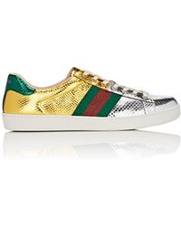 gucci shoes flower. gucci | new ace metallic snakeskin sneakers lyst shoes flower