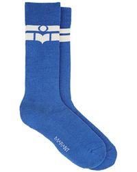 Isabel Marant - Vibe Logo-striped Cotton-blend Mid-calf Socks - Lyst