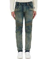 Balmain - Straight Biker Jeans - Lyst