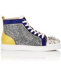Lyst - Christian Louboutin Suede And Leather High-Top Sneakers in ...