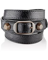 Balenciaga - Arena Leather Classic Double Tour Bracelet Size M - Lyst