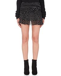 Saint Laurent - Polka Dot Gathered Miniskirt - Lyst