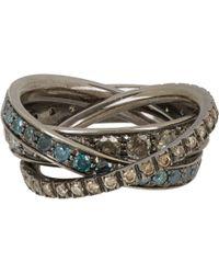 Roberto Marroni - Multi Diamond & Oxidized White Gold Triple Ring - Lyst