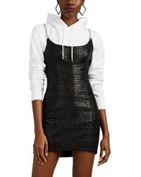 Alexander Wang - Chain-strap Coated Cotton-blend Tweed Minidress - Lyst