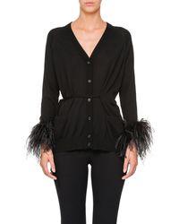 Prada - Ostrich-feather-embellished Cotton Cardigan - Lyst