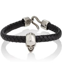 Alexander McQueen - Braided Leather Skull Bracelet - Lyst