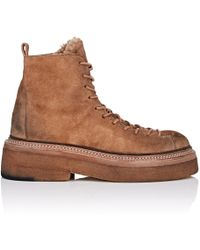 Marsèll - Shearling-lined Suede Hiker Boots - Lyst