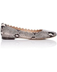 Chloé - Lauren Stamped Leather Flats - Lyst