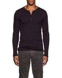 John Varvatos - Cotton-blend Rib-knit Henley - Lyst