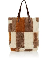 Barneys New York - Shearling Patchwork Tote Bag - Lyst