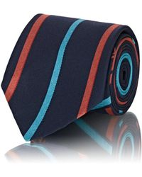 Fendi - Logo-striped Silk Faille Necktie - Lyst