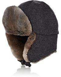 62cdc90692447 Crown Cap Vintage Leather Fur Aviator Hat in Black for Men - Lyst