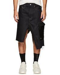 Rick Owens - Raw-denim Asymmetric Cargo Skirt - Lyst