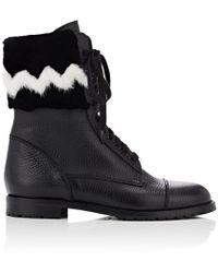 Manolo Blahnik - Campchafur Leather & Fur Ankle Boots - Lyst