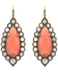 Cathy Waterman - Diamond & Vintage Coral Drop Earrings - Lyst