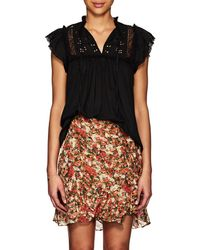 Ulla Johnson - Harleen Embroidered Cotton Voile Top - Lyst