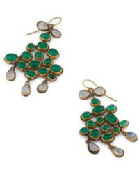 Judy Geib Emerald & Moonstone Cabochon Drop Earrings