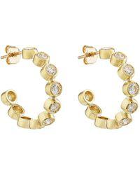 Jennifer Meyer - Diamond Bezel Hoop Earrings - Lyst