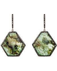 Monique Pean Atelier - Pavé Black Diamond & Emerald Slice Earrings - Lyst