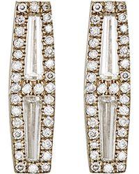 Monique Pean Atelier - Women's Baguette & Pave White Diamond Studs - Lyst