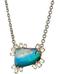 Irene Neuwirth - Women's White Diamond & Boulder Opal Pendant Necklace - Lyst