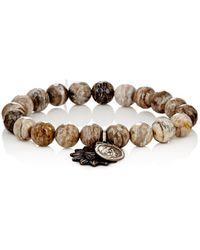 Miracle Icons - Silver Leaf Jasper Bead & Charm Bracelet - Lyst