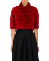 J. Mendel Mink Fur Bolero Jacket - Red