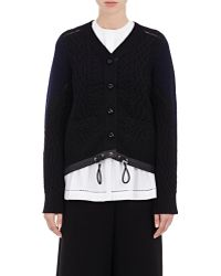 Sacai - Colorblocked Wool Cable-knit Cardigan - Lyst