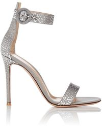 Gianvito Rossi - Iridium Studded Satin Sandals - Lyst