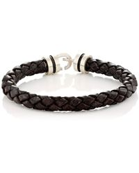 Zadeh - Sterling Silver & Braided Leather Bracelet - Lyst