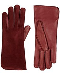 Barneys New York Suede Gloves - Red
