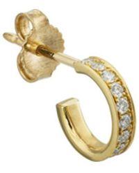 Finn - White-diamond Huggie Hoop Earring - Lyst