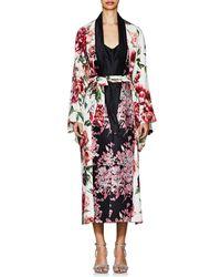 Dolce & Gabbana - Peony-print Matte Silk - Lyst