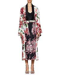Dolce & Gabbana - Peony-print Matte Silk-blend Charmeuse Robe - Lyst