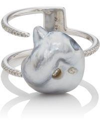 Samira 13 - Keshi Pearl & White Diamond Cuff Ring - Lyst