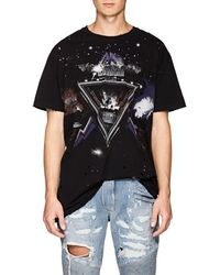 Balmain - Galaxy-print Distressed Cotton T-shirt - Lyst