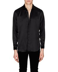 Saint Laurent - Velvet-trimmed Silk Satin Shirt - Lyst