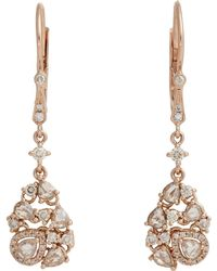 Zoe - Mixed Diamond & Rose Gold Drop Earrings - Lyst