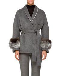 Prada - Fox-fur-trimmed Wool - Lyst