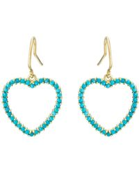 Jennifer Meyer - Turquoise Large Open Heart Drop Earrings - Lyst