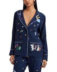 b671168fa9 Mira Mikati - Fairytale-print Silk Crêpe De Chine Pajama Shirt - Lyst