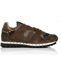 Valentino - Studded Nylon & Suede Sneakers - Lyst