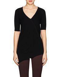 8cffaa4f706 Helmut Lang Rib-knit Cotton Asymmetric Top in Black - Lyst