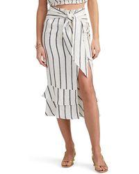 921909a052 Suboo - Eden Striped Herringbone-weave Linen Midi-skirt - Lyst