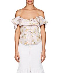 Brock Collection - Ruffle Floral Silk Taffeta Top - Lyst