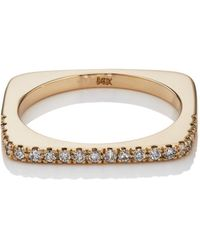 Bianca Pratt - Rounded Square Ring With Diamonds - Lyst