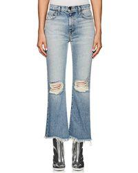 Current/Elliott - The High Waist Kick Distressed Flared Jeans - Lyst