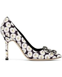 Manolo Blahnik - Hangisi Embellished Knit Pumps - Lyst